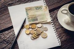 Billets et monnaie polonais photographie stock