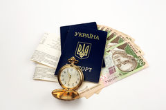 Billets, passeport Ukraine sur le fond Bell Image libre de droits