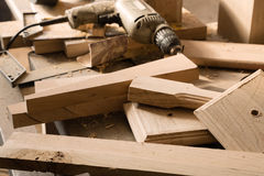 Billets of wood for furniture lie on a workbench Royalty Free Stock Photos