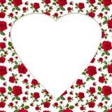 Billetta della cartolina d'auguri della rosa rossa del modello Fotografie Stock Libere da Diritti