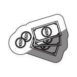 Billette e monete Immagini Stock Libere da Diritti