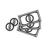 Billettes et pièces de monnaie Images libres de droits