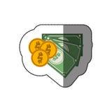 Billettes et pièces de monnaie Image libre de droits