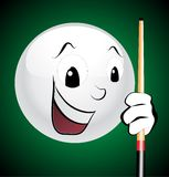Billiard. Happy white ball laughing vector Stock Photography