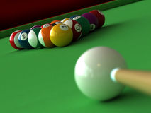 Billiard. 3d render of billiard balls and table Stock Photography