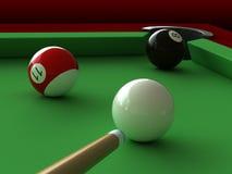 Billiard. 3d render of billiard balls and table Stock Photos