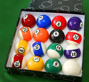 Billiard 2. All the billiard balls in a box Royalty Free Stock Photography
