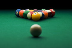 Billiard. Image of billiard balls on the pool table Royalty Free Stock Images