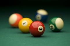Billiard. Balls on the pool table Stock Photos