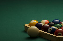 Billiard. Balls on the pool table Royalty Free Stock Photo