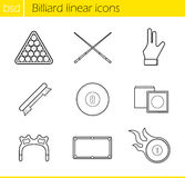 Billiard accessories linear icons set Royalty Free Stock Photos