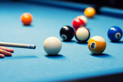 Billiard - aiming the cue ball Royalty Free Stock Photo