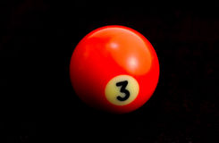 Billiard Ball. Red Number 3 Billiard Ball Royalty Free Stock Image