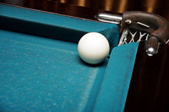 Billiard ball. White Russian billiard ball near the pockets Stock Images