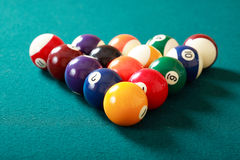 Billiard-ball. Billiard game details: balls, cue, table royalty free stock images