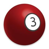 Billiard ball. Number 3 and red color Stock Image