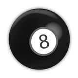 Billiard ball. Number 8 and black color stock illustration