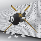 Billiard ball broke the wall stock illustration