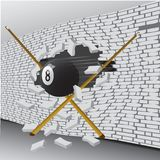 Billiard ball broke the wall vector illustration