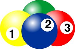 BILLIARD BALL. Carom billiards, pool, and snooker 1, 2, 3 ball snooker, billiard ball, number of billiard ball, arcade pool stock illustration