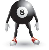 Billiard ball cartoon character. Cartoon character of an eight billiard ball Royalty Free Stock Photo