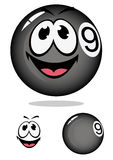 Billiard ball 9 in cartoon style Royalty Free Stock Image