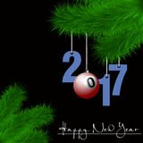Billiard ball and 2017 on a Christmas tree branch Royalty Free Stock Images
