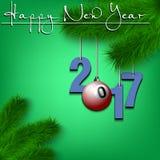 Billiard ball and 2017 on a Christmas tree branch Stock Photography