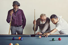 Billiard Ball Club Leisure Sport Shot Team Game Concept. Senior Men Playing Billiard Concept Stock Images