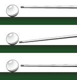 Billiard ball and cue Royalty Free Stock Images