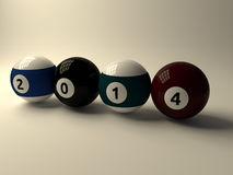 Billiard ball 2014. 3d billiard ball on white background Royalty Free Stock Photo