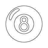 Billiard ball eight thin line. Illustration eps 10 vector illustration
