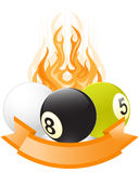 Billiard ball emblem  in flame. With ribbon Stock Photography