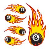 Billiard Ball 8 On Fire. Vector illustration of a billiard ball in fire royalty free illustration