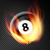 Billiard Ball In Fire Vector Realistic. Burning Billiard Ball. Transparent Background. Billiard Ball In Fire Vector Realistic. Burning Billiard Ball vector illustration