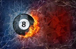 Billiard ball in fire and water. Billiard ball on fire and water with lightening around on abstract polygonal background. Horizontal layout with text space Royalty Free Stock Photography