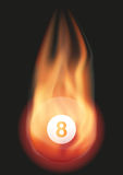 Billiard ball with flame. Burning ball with a tail of flame. Vector illustration Isolated on background Stock Images
