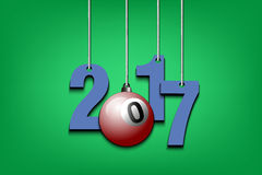 Billiard ball and 2017 hanging on strings Stock Images