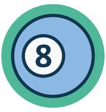 Billiard ball, number eight Isolated Vector Icon that can easily Modify or edit stock illustration