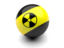 Billiard ball with radiation signs. On a white background Royalty Free Stock Photo