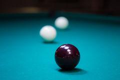 Billiard-ball: reflections from lamps Stock Image