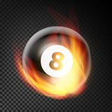 Billiard Ball Vector Realistic. Billiard Ball 8 In Burning Style Isolated On Transparent Background. Billiard Ball Vector Realistic. Billiard Ball 8 In Burning Stock Images