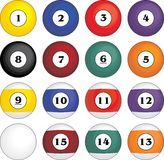 Billiard balls. Billiard, pool balls, no gradients used Stock Photos