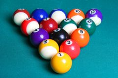 Billiard balls. On green table Stock Photo