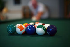 Billiard Balls. Are about to be struck Stock Image