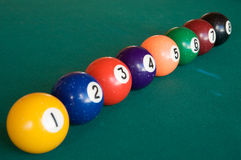 Billiard Balls. Sorted by the number and aligned stock photography