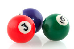Billiard balls. Pool billiard balls in different colors isolated over white Stock Images
