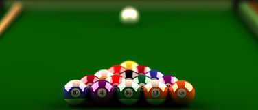 Billiard balls. Closeup of Billiard table with the colored balls in the foreground the first balls are in focus, the white ball in background is blurred. green Stock Illustration