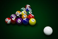 Billiard balls. Lie on the billiard table Vector Illustration