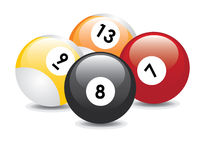 Billiard balls. Four billiard balls with numbers: seven, eight, nine and thirteen Royalty Free Illustration
